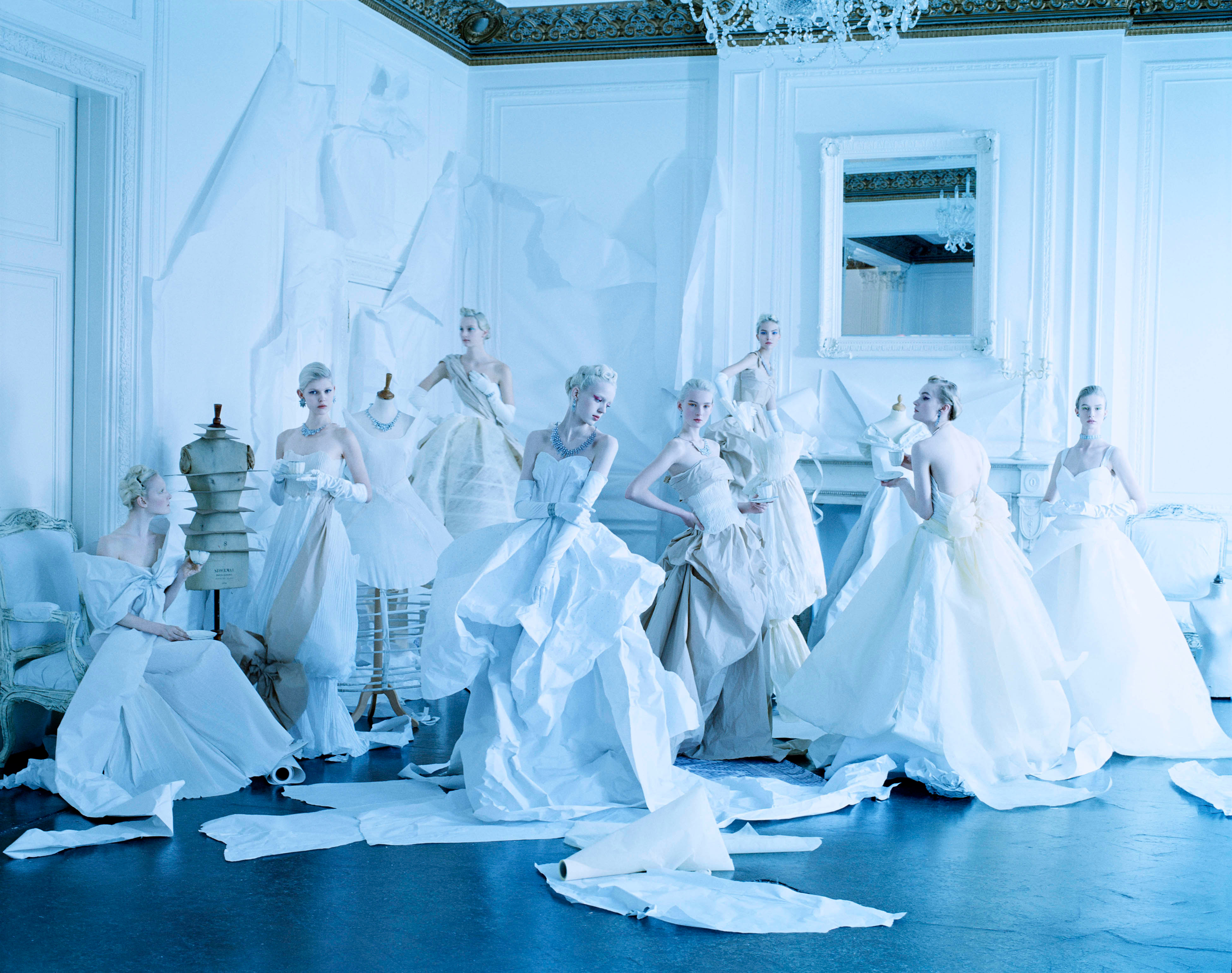 Tim Walker, Eight Models in Paper Dresses After Cecil Beaton, London, 2014. © Tim Walker